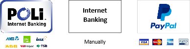 POLi facilitated Internet Banking, Manual Internet Banking and PayPal with credit card or account